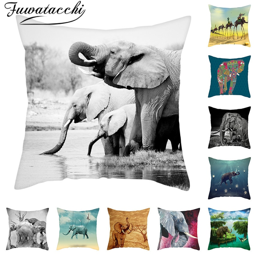 Fuwatacchi Elephant Picture Cushion Animal Cover Pillow Case 45x45cm Home Decorating Pillows Cover Home Decoration Accessories