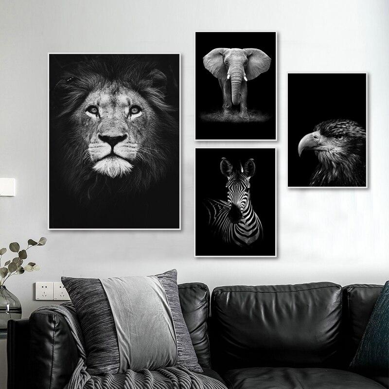 Cartel moderno de animales de moda para la decoración del hogar de la sala de estar lienzo blanco negro pintura pared arte naturaleza África salvaje animales cuadro