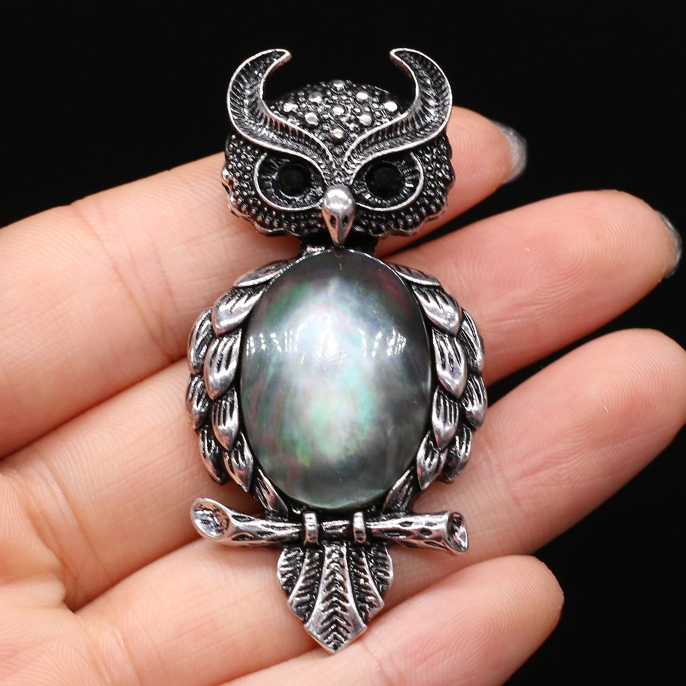Exquisite Animal Owl Brooches for Women Men Natural Stone Turquoises Cabochons Pins Brooch DIY Pendant Jewelry Accessories Gift  - buy with discount