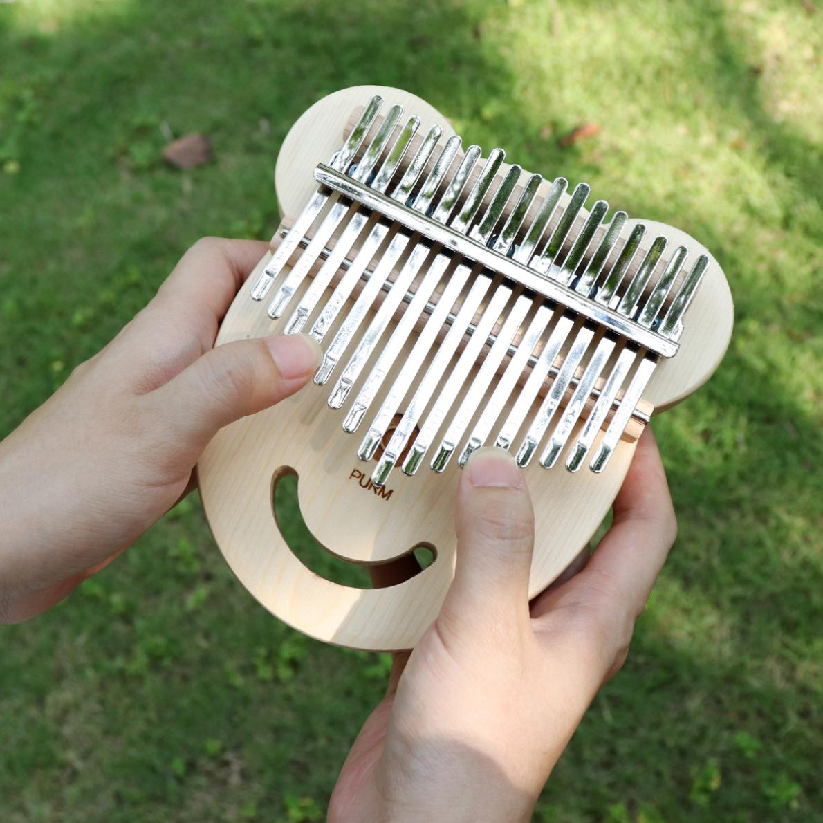 Thumb Piano 17 Key Spruce Bear Face Shape Thumb Piano Kalimba Mbira with Tuning Hammer Keyboard Instruments enlarge