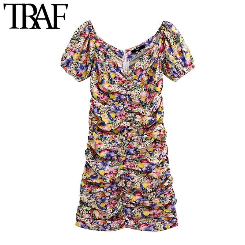 TRAF Women Chic Fashion Floral Print Draped Mini Dress Vintage V Neck Short Sleeve Back Zipper Female Dresses Vestidos