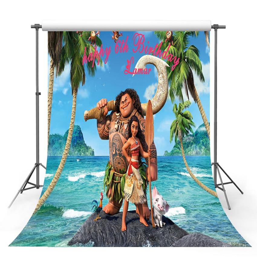 Vinilo fotografía Fondo niñas Moana de cumpleaños personalizado Nombre Fecha Waialiki Maui fiesta evento Banner fondo fotográfico del recién nacido