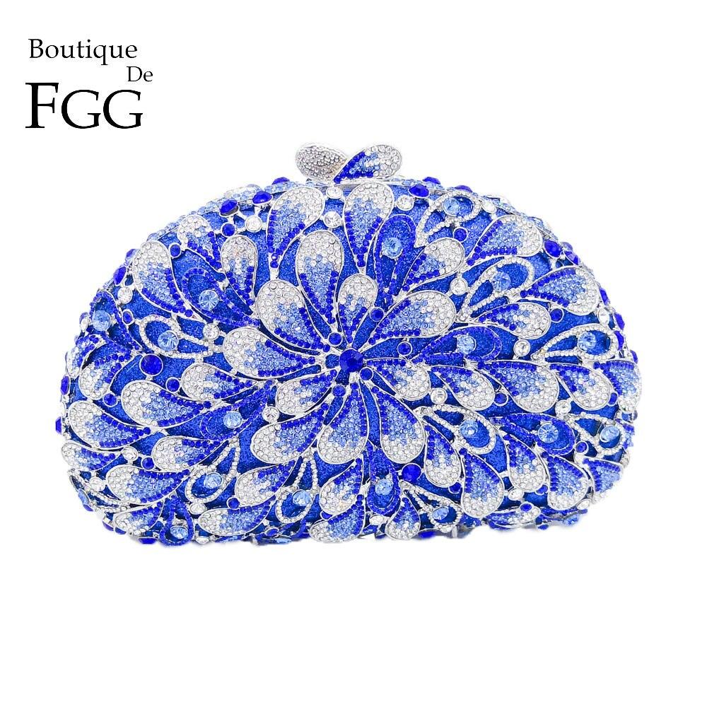 Boutique De FGG azul y blanco Flor De las mujeres Crystal Clutch Evening Bags nupcial boda bolsos diamante Cocktail Party Purse Bag