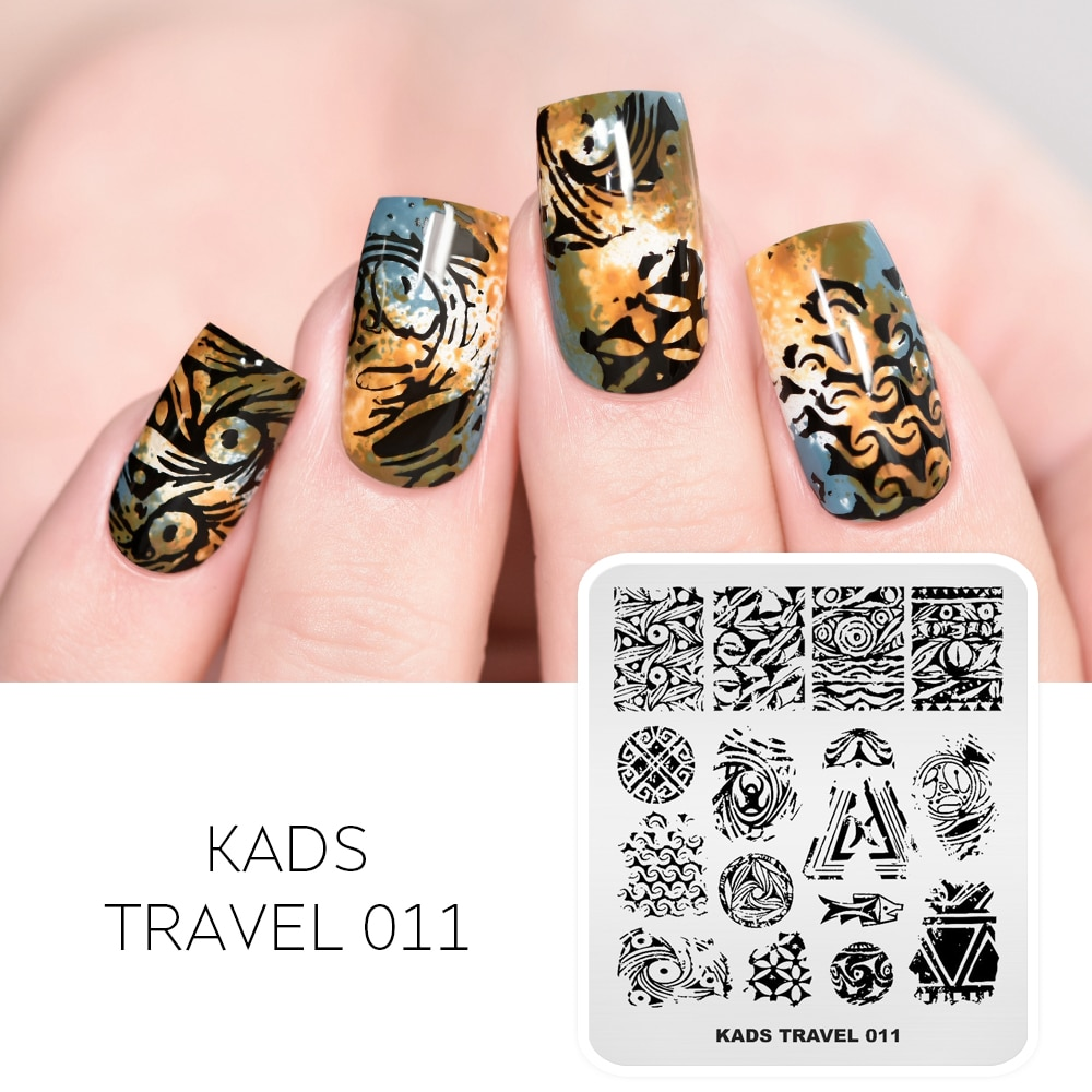 KADS, nuevas plantillas de cerámica para uñas, placas de estampado de patrones antiguos, plantillas de uñas para uñas, herramienta DIY de manicura
