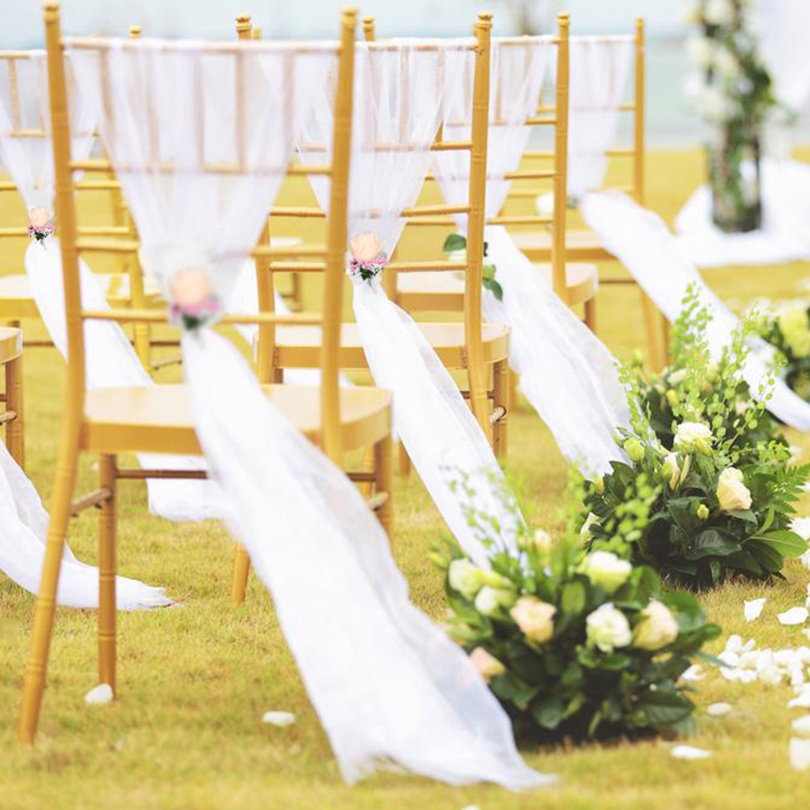 beach theme wedding 30pcs white Organza Chair Sashes with white Champagne rose flower for Wedding Party Banquet Chair Decoration