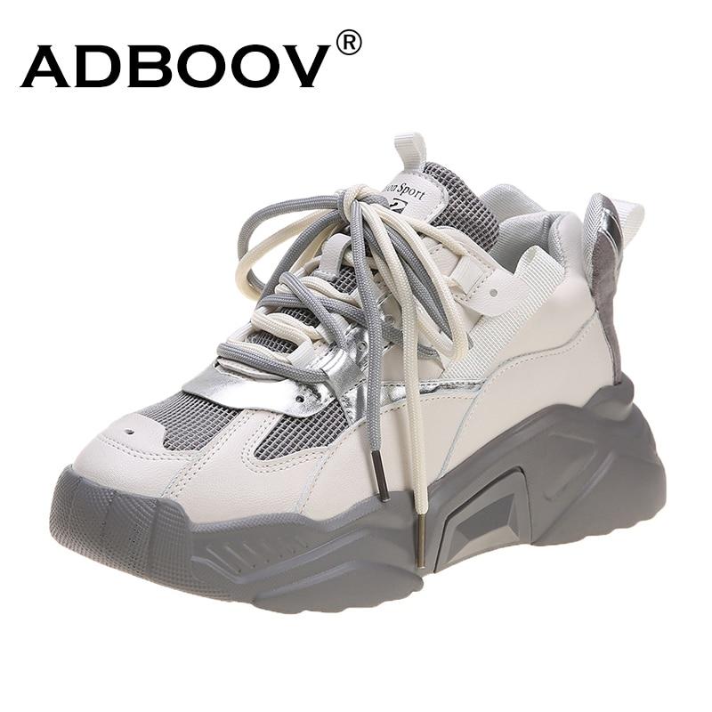 ADBOOV 2020 nueva moda de primavera zapatillas gruesas mujer plataforma de cuero zapatos casuales zapatillas transpirables femeninas