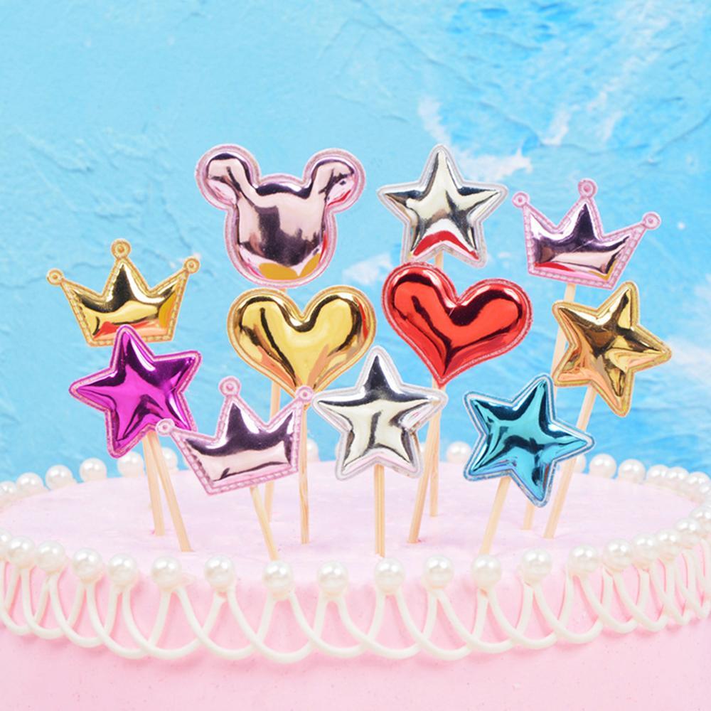 5 pçs adorável coração estrela coroa bolo topper para aniversário sobremesa cupcake bandeira chá de fraldas festa de casamento decoração suprimentos