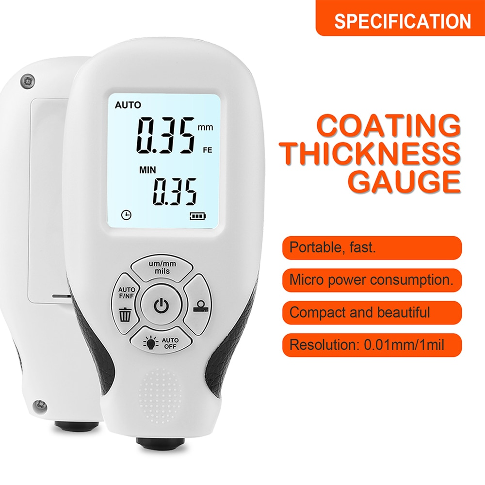 Coating Thickness Gauge HW-300 0-2000UM Car Paint Film Thickness Tester Measuring Manual Paint Tool Coating Thickness Meter недорого