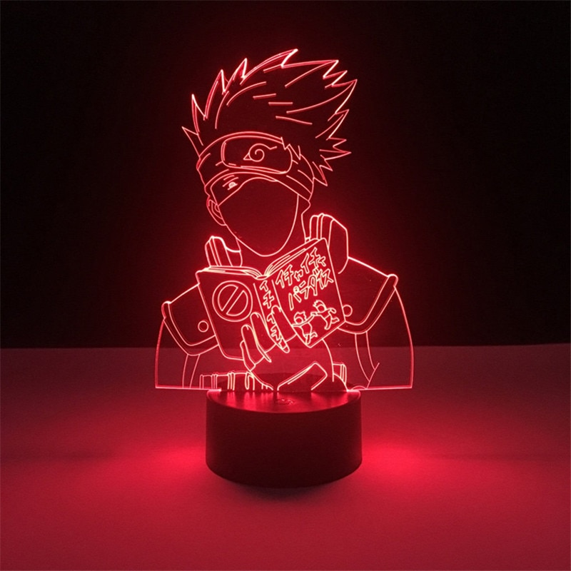 Luz de noche Led 3d Anime japonés Naruto Kakashi Hatake Icha Paradaisu figura luz nocturna para decoración dormitorio infantil lámpara de escritorio