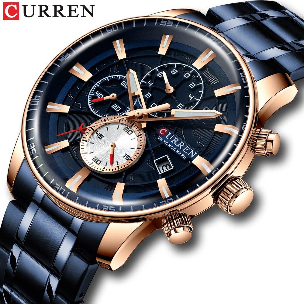 Marca de lujo superior reloj CURREN hombre cronógrafo militar Acero inoxidable reloj de pulsera de cuarzo deportivo resistente al agua relojes de hombre reloj de Fecha