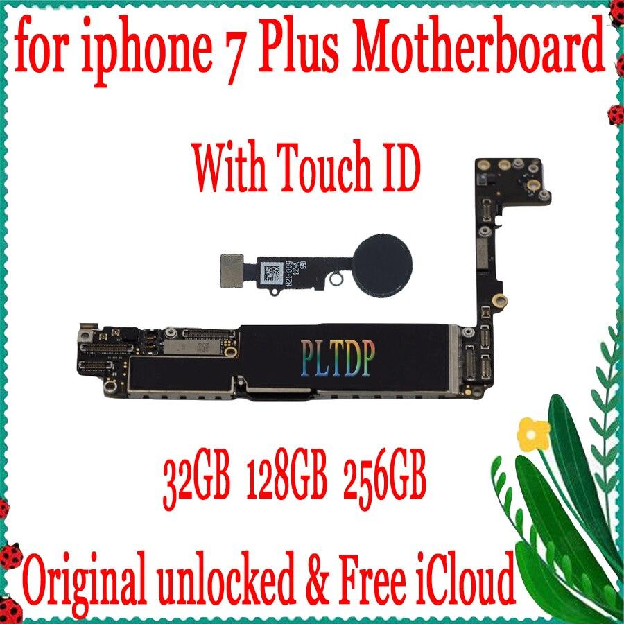 Placa base Original desbloqueada de fábrica para iphone 7 Plus 5,5 pulgadas con Touch ID placa base IOS tarjeta lógica instalada 32GB/128GB/256GB
