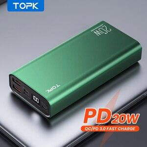 TOPK внешний аккумулятор 20000 мАч портативный зарядный светодиодный внешний аккумулятор 20000 мАч для iPhone 12 Xiaomi Mi