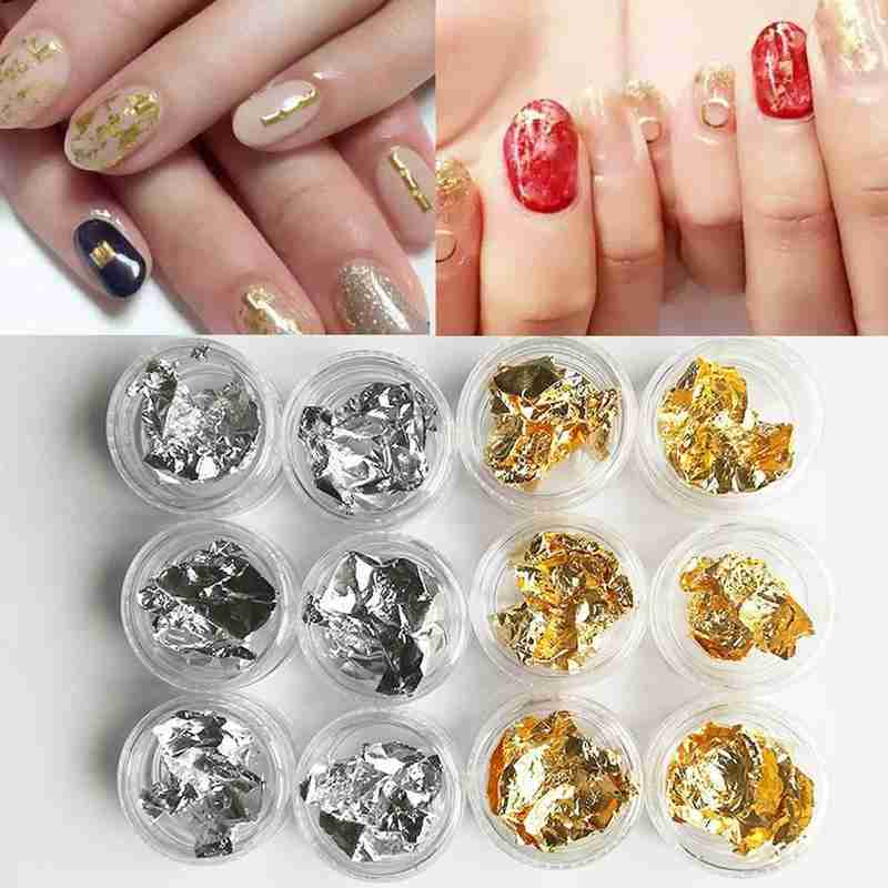 1 Box Gold Silver Irregular Aluminum Foil Paper Nail Art Sticker 3D Glitter DIY Manicure UV Gel Polish Nail Decoration Tools
