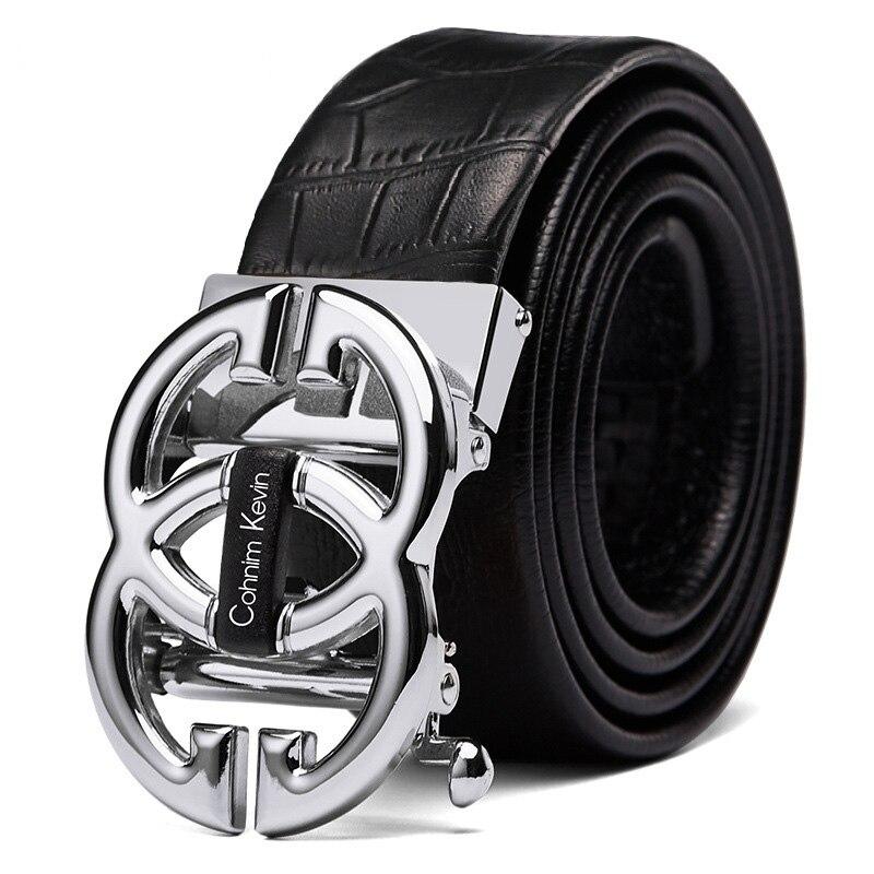 Ceinture en vrai cuir véritable   Ceinture de styliste de luxe pour hommes femmes Double 8 boucle lisse, ceinture de bonne qualité mode Jeans