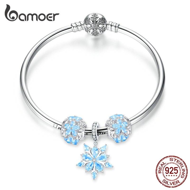 Bamoer-سوار من الفضة الإسترليني عيار 925 بتصميم ندفة الثلج للنساء ، سوار أميرة فاخر على الطراز الأوروبي ، SCB833
