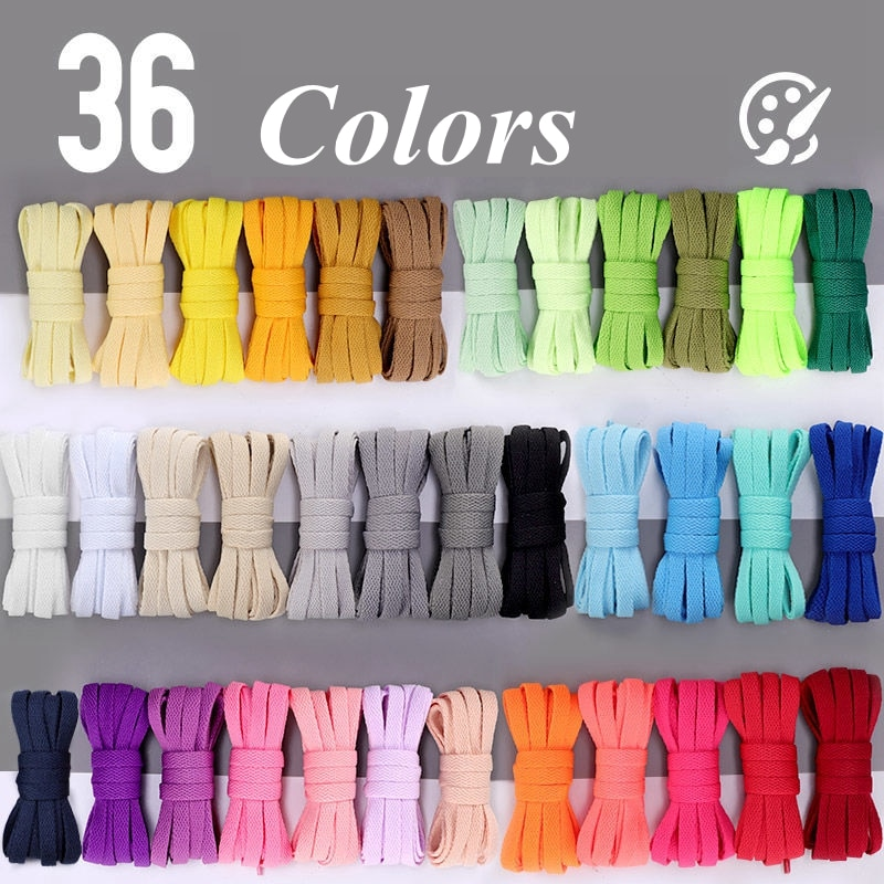 36colors Flat Shoelaces Air Force Sneakers Shoelace Canvas Shoes Basketball Shoes laces Black White