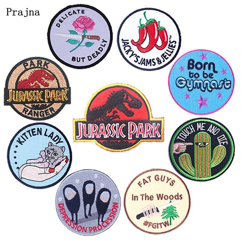 Prajna dibujos animados parche redondo hierro en los parches en la ropa parches bordados para la ropa DIY Jurassic Park parche rayas chaquetas