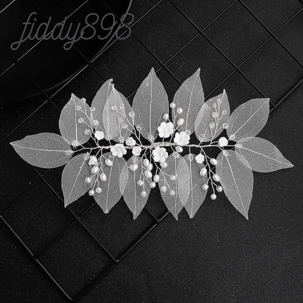 Accesorios para el cabello de novia de moda flor hojas perlas mujeres...
