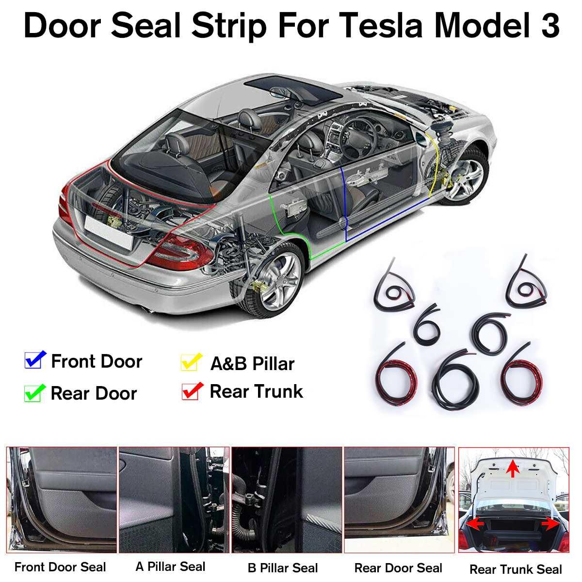 Nuevo Kit de sellado de puerta de 7 Uds., a prueba de sonido, reducción de ruido de viento, moldura de puerta de coche, tira de sellado de goma para Tesla modelo 3