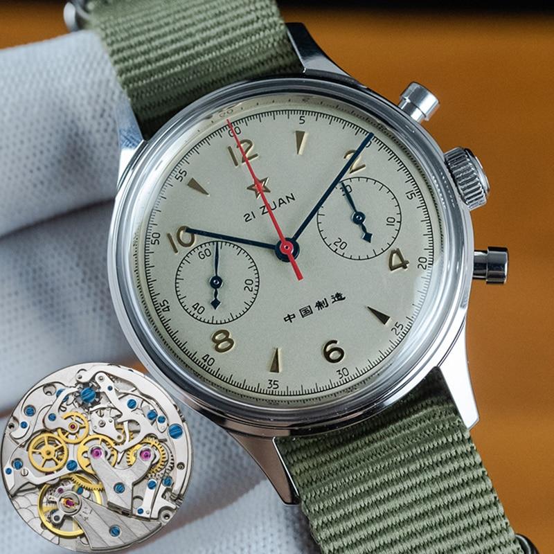 40mm China Aviation Chronograph Mechanical Watch For Men Seagull Movement 1963 38mm Chronograph Sapp