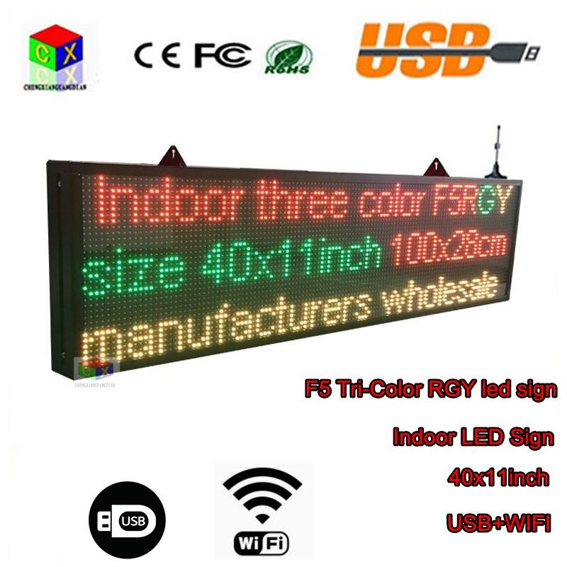 Letrero LED de 40x11 pulgadas, tablero de mensajes desplazable tricolor RGY, señal LED WiFi, señal LED, Smartphone programable, uso interior para almacenamiento