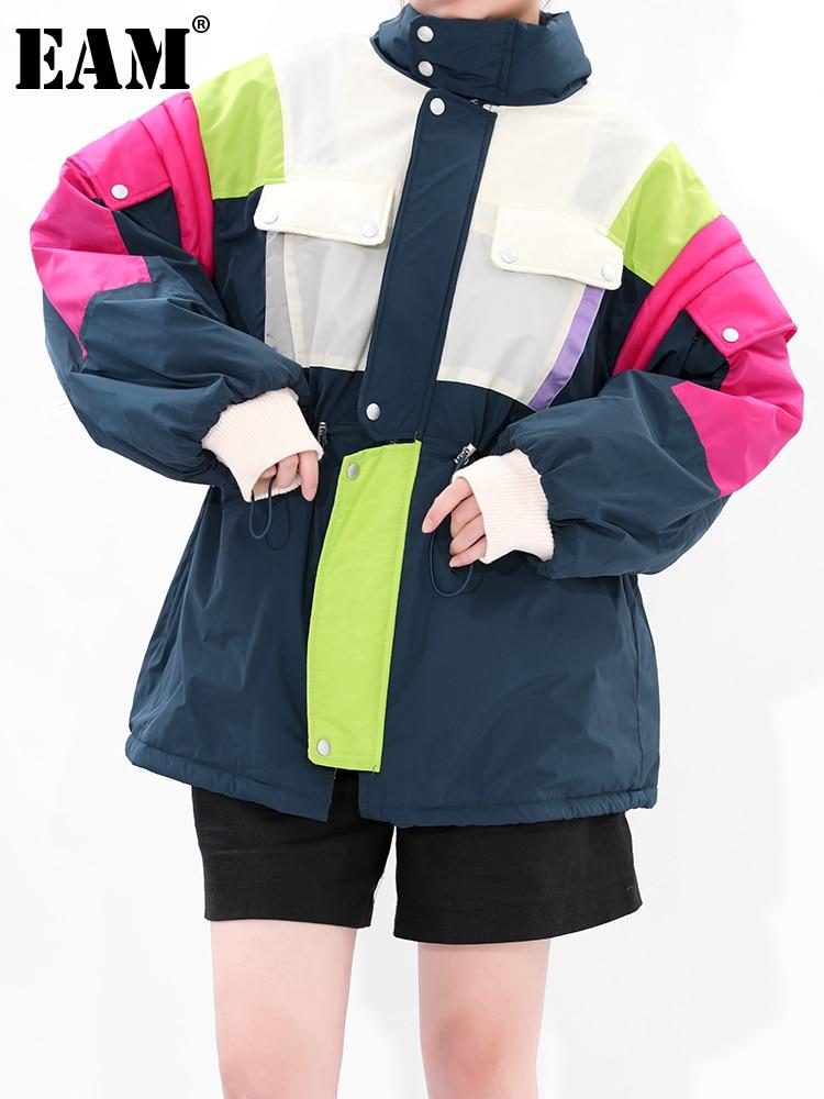 [EAM] الرباط امبسوول حجم كبير الدنيم سترة جديدة الوقوف طوق طويلة الأكمام النساء معطف موضة الخريف الشتاء 2021 1DD3034