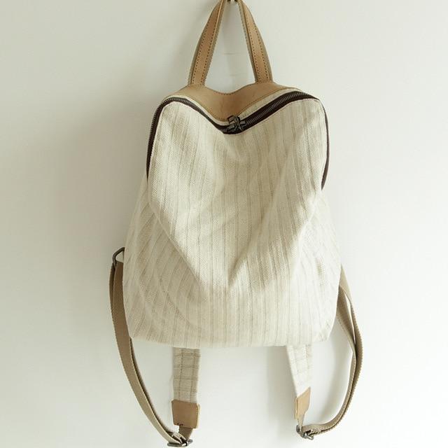 Женский Повседневный экологичный рюкзак из натурального льна, молодежная тканевая сумка для подростков, белый Повседневный Белый школьный...