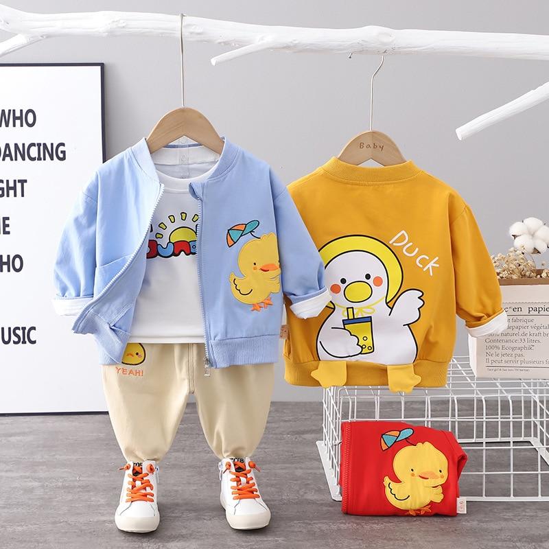 Fashion Baby Boys/girls Clothes Sets Spring Autumn Cute Yellow Duck 3pcs Suits Kids Zipper Jacket+T-
