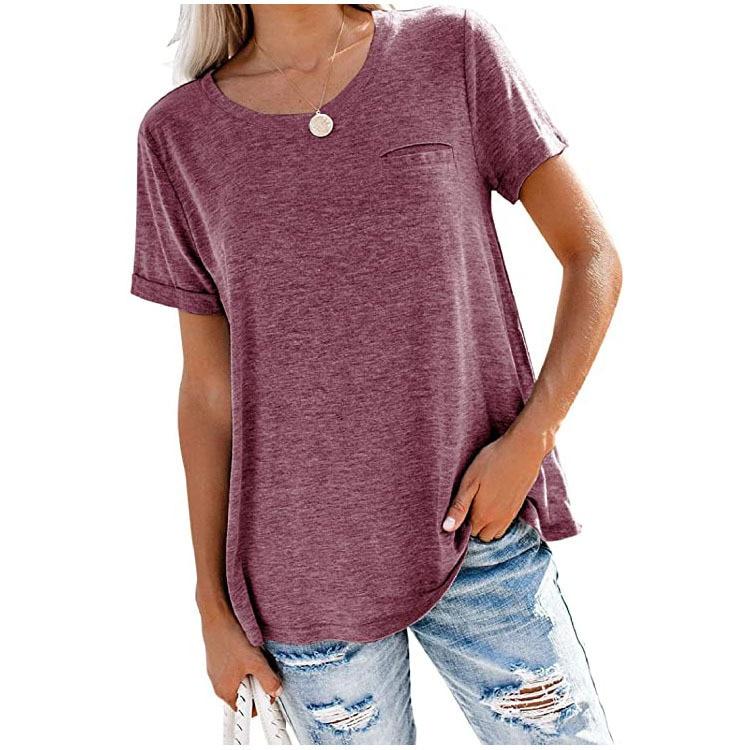 Женские футболки топы с круглым вырезом и карманами однотонные свободные футболки с коротким рукавом