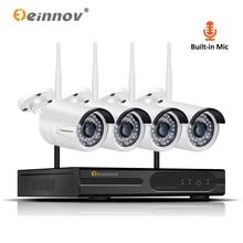 Einnov Outdoor Video Surveillance Camera 1080P Wireless CCTV 4CH NVR Wifi H.265 Security System Kit Audio Record HD IP Cam P2P