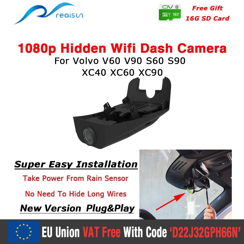 Realsun-كاميرا لوحة القيادة للسيارة ، مسجل فيديو 1080P ، Wifi ، كاميرا مزدوجة ، سهل التركيب ، لمركبات فولفو V40 V60 V90 S60 S90 XC40 XC60 XC90