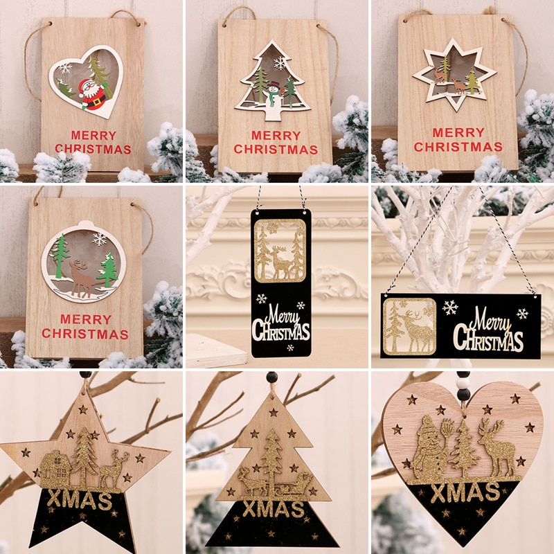 Porta de natal pingente elk decoração da árvore de natal feliz natal decorações para casa 2020 navidad presentes natal feliz ano novo 2021