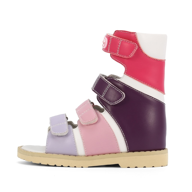 Ortoluckland Girls Shoes High Top Orthopedic Footwear Children Leather Sandals Kids Platform Flatfeet Shoes With Rigid Backdrop