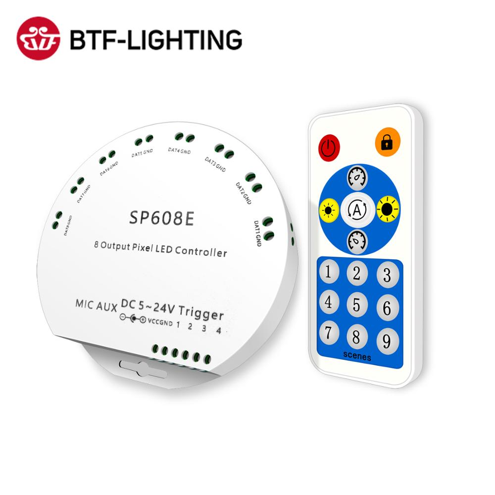 WS2812B بلوتوث APP الموسيقى تحكم مع البعيد SP608E 8 CH SP602E 4 CH WS2811 WS2815 LED ضوء قطاع IOS الروبوت App 5V-24V