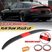 all black universal abs three section adjustable trunk rear wing suitable for cars