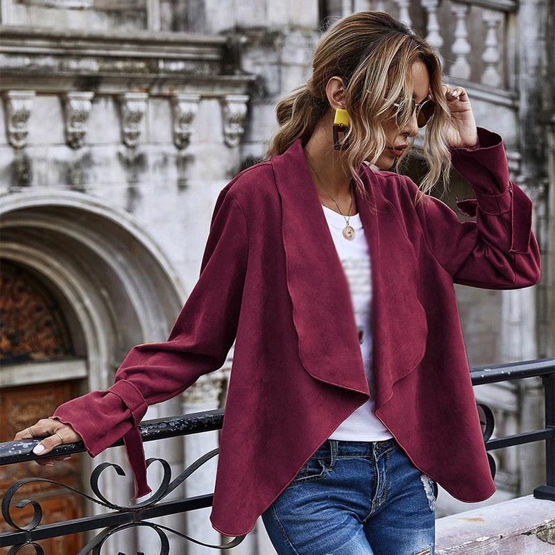2020 New Style Fashionable Lapel Suede Women's Short Coat Lace Long Sleeve Solid Coat Autumn Fashion Street Women's Clothing