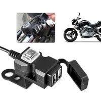 1 52a dual usb port waterproof motorcycle usb phone charger adapter socket