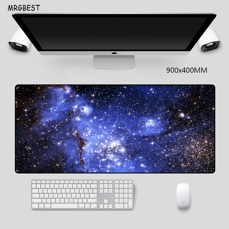 MRGBEST Big Mouse Pad 90x40cm XXL XL Sky Star SERIES Printed Mat with High-end Precision Hemming Soft Rubber for Gaming Mice Pad mrgbest animal flamingo pink mouse pads natural rubber base precision weaving cloth mouse mat anti fray for girl female games