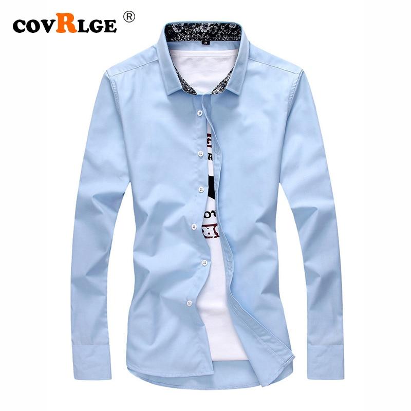 Мужская рубашка модная повседневная с длинным рукавом Однотонная 100% хлопок приталенная Классическая деловая рубашка мужская брендовая од...