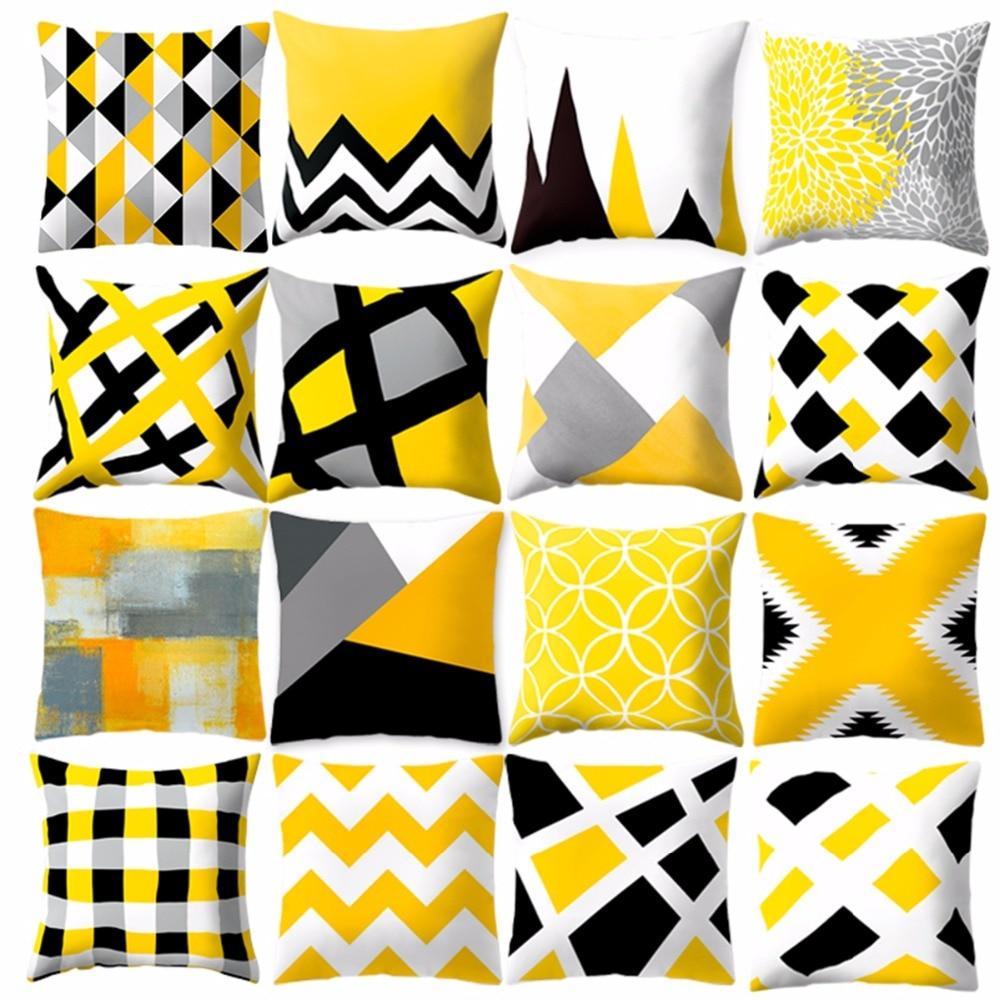 New Style Geometric Yellow Pillowcase Decorative Cushion For Sofa DIY Printed Pillow Chair Car Cushion Christmas Home Decoration