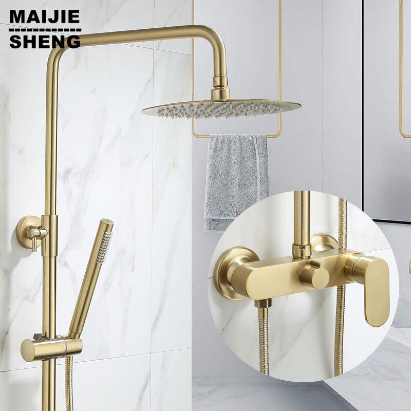 طقم دش فاخر للحمام ، حمام فاخر ، مثبت على الحائط ، نحاس ، فوهة صنبور دش ، فرشاة ذهبية