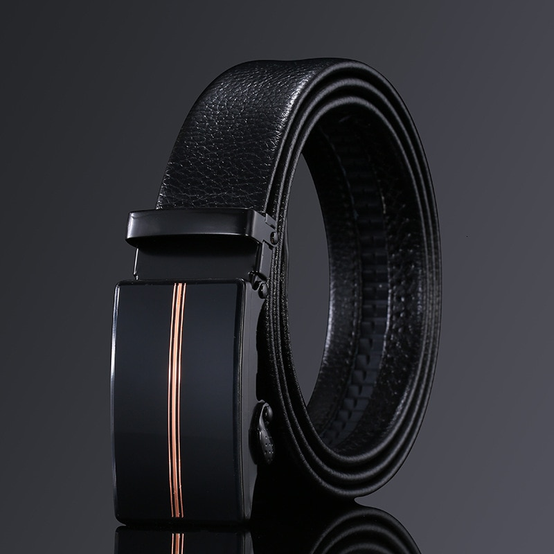 Peikong Mens Fashion Belt PU Leather Automatic Buckle Men Black Belt Designer Popular Casual Business Male Belts Luxury 3.5 CM