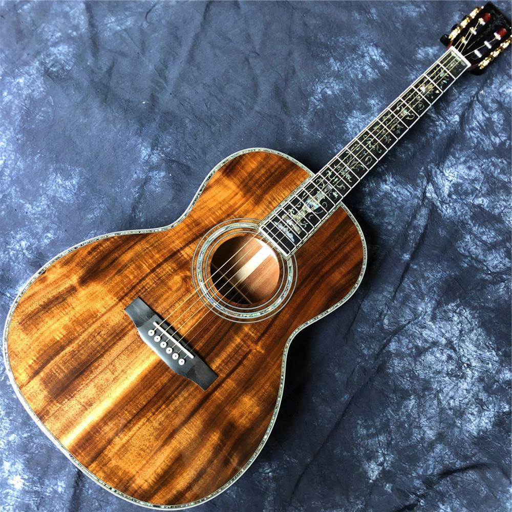 Guitarra acústica koa de 39 pulgadas, instrumento Real de ébano ooo tipo...