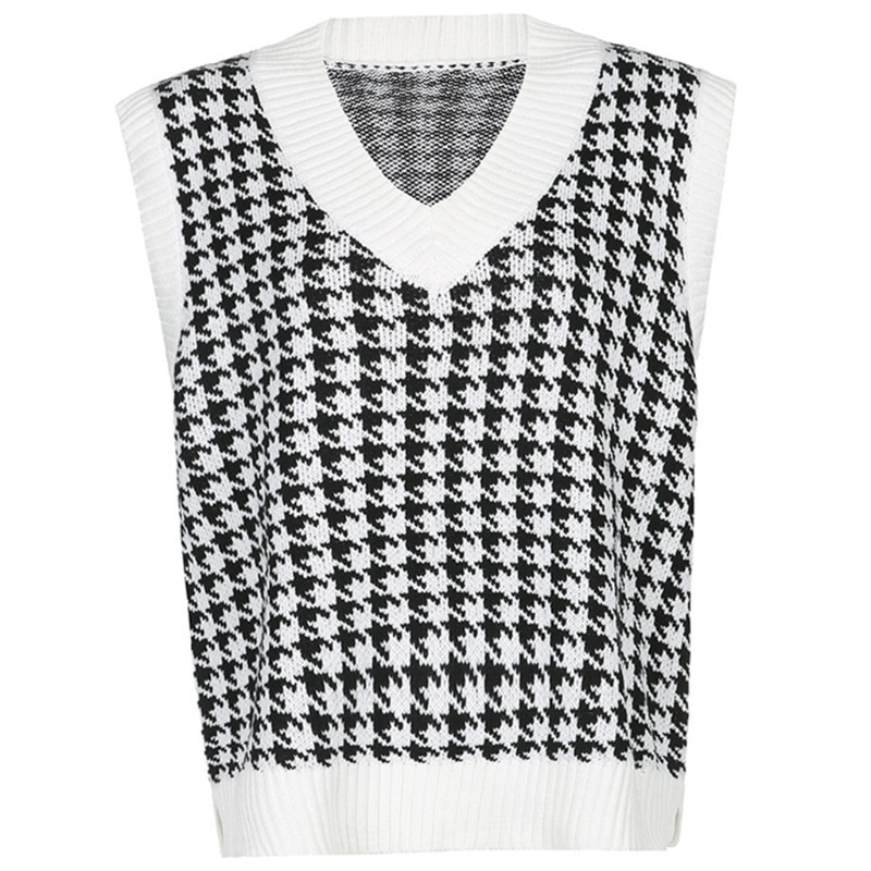 Women V-Neck Knit Oversized Loose Vest Houndstooth Sleeveless Sweater Tank Top enlarge