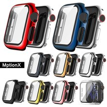 Glass+Case for Apple Watch 44mm 40mm 42mm 38mm ,Full Defense Coverage Screen Protector Plating Cover for iwatch SE 6 5 4 3 2 1