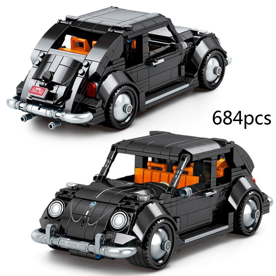 Technical germany brand classic Vintage car building block das auto Beatle model Pull back vehicle steam brick toys collection