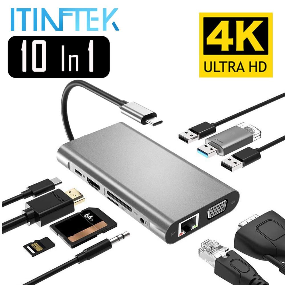 USB نوع C Hub Type-C إلى HDMI 4K VGA محول RJ45 Lan إيثرنت SD TF USB-C 3.0 Typec 3.5 مللي متر جاك الصوت والفيديو ل ماك بوك برو OTG
