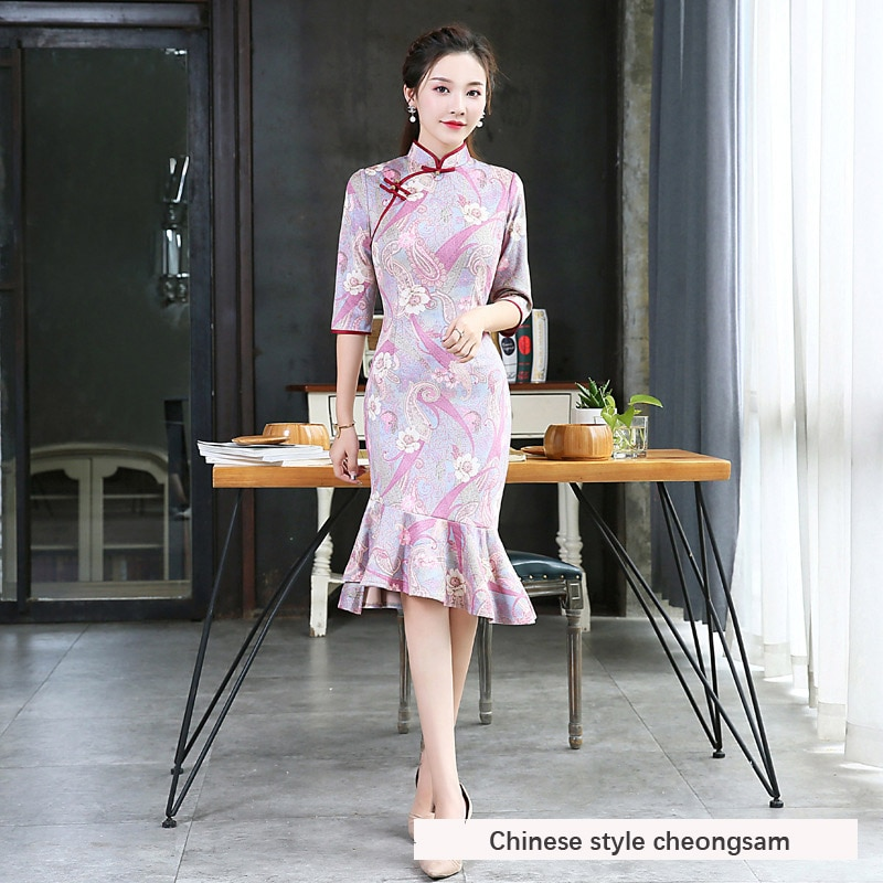 Female new retro young autumn long section improved version of the thick dress style fishtail cheongsam dress 2020 new summer new style cheongsam section temperament young section student girls cheongsam improved version of thin dress