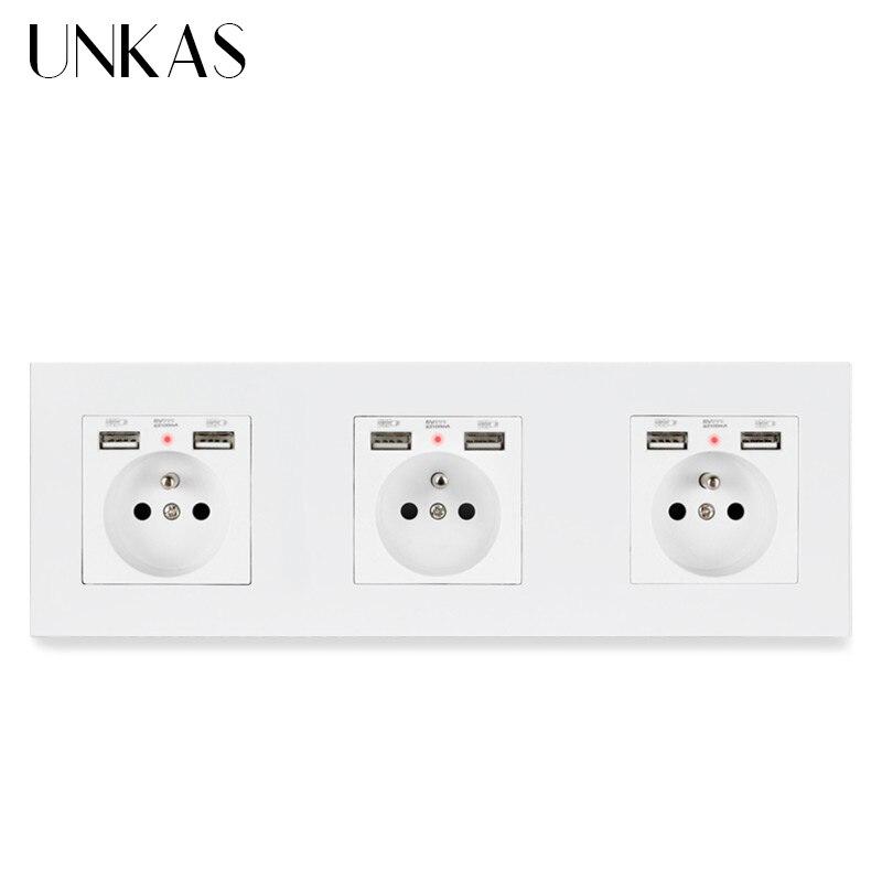 UNKAS PC Panel plástico enchufe de pared estándar francés con 6 puerto de carga USB para móvil indicador LED suave oculto 258*86