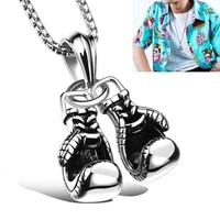 double glove pendant necklace for men jewelry fashion hiphop titanium steel chain personality sports neck chain cool accessories